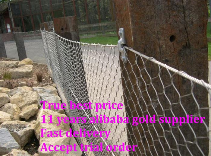 sus 316 aviary /zoo bird cage fence with wire rope mesh