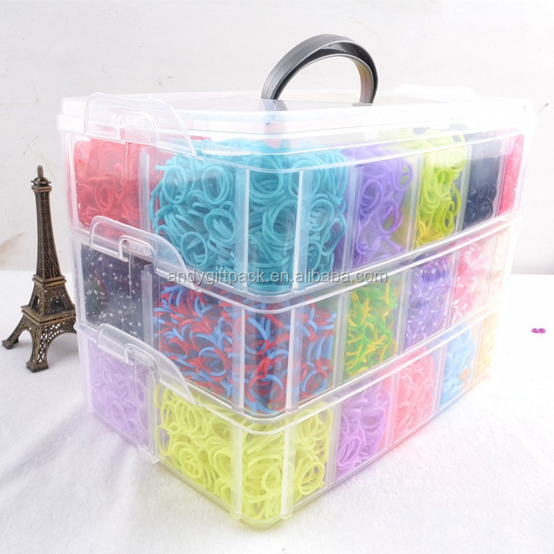 Colorful DIY Rubber Fashion 12000 bands boxes Loom Bands Kit