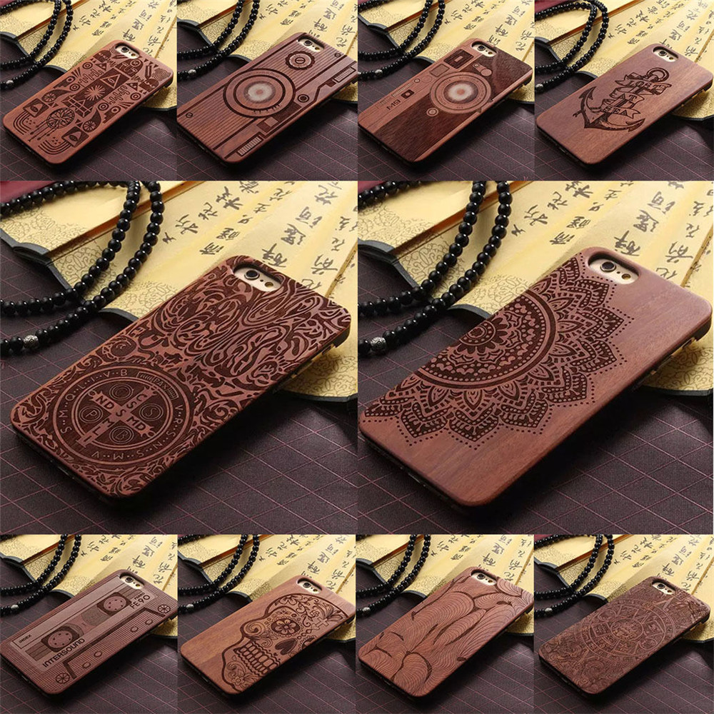 Luxury laser carving pattern engraved wood case for iphone 6, hard wooden phone case for iPhone 6S Plus