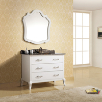 Solid Wood Bathroom Vanity Cabinet with Single Sink and Marble Top