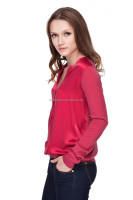 Ladies wool acrylic long sleeve pullover silk satin pullover woman sweater/sweater women