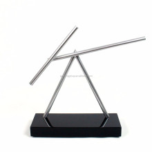 The Swinging Sticks - Shiny Black - Double Pendulum Kinetic Energy Perpetual Motion Illusion Sculpture