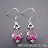Solid 925 Sterling Silver Red Corundum