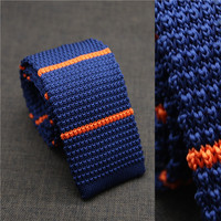 2016 top selling navy ground orange stripes knitted necktie