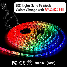 12V/24V 5A controller 5m roll 300 LEDs music changing activated waterproof flexible Rgb led light strip