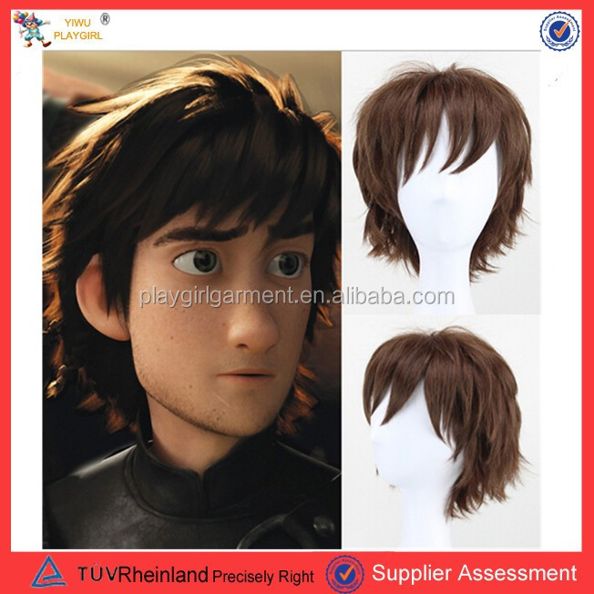 2015 boy style short sex cartoon animation natural hair wig for men PGW-1811