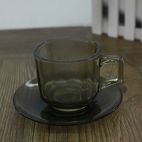 Glass Tea/Coffee Cup With Saucer Small Glass Tea Cups