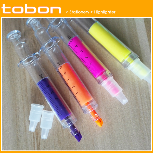Syringe shape highlighter pen multicolor highlighter pen Fluorescent highlighter pen