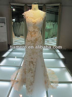 2013 Latest Design Gold wedding dresses evening gowns with Trains