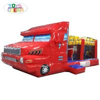 New design Inflatable fire-truck bouncer castle inflatable jumper area for kids