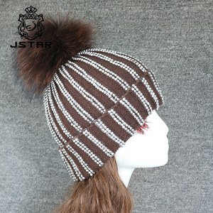Buling Buling Winter Hat With Ball Cashmere Raccoon Fur Pompom Knit Beanie
