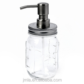 High quality glass mason jar soap dispenser with stainless steel pump