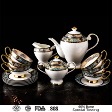 European style fine bone china gold coffee set home decoration ceramic tea set of 15PCS