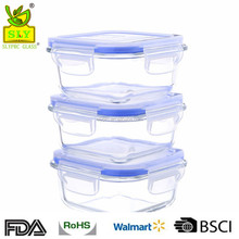 Oven Safe 6-Piece Square Glass Food Storage Container Set 3 Containers and 3 Vented Lids