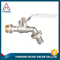 TMOK 1/2'' thread brass bibcock with 3/4'' diameter hose connector brass bibcock tap water faucet nickel plated