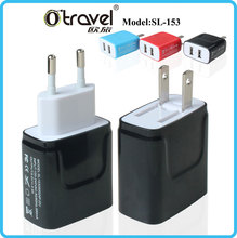 Mini portable patent 153 universal 2 USB 2.4A travel charger station