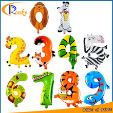 Fancy kids toy gifts cartoons animal number balloons