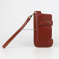 Vintage China Supplier Reddish Brown Genuine Cowhide Leather Mobile Phone Case