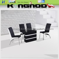 wooden frame glass top with bevel edge dining table new model