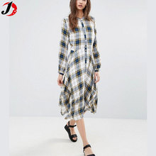 New Look Ladies Peplum Hem Plaid Long Sleeve Maxi Check Dress