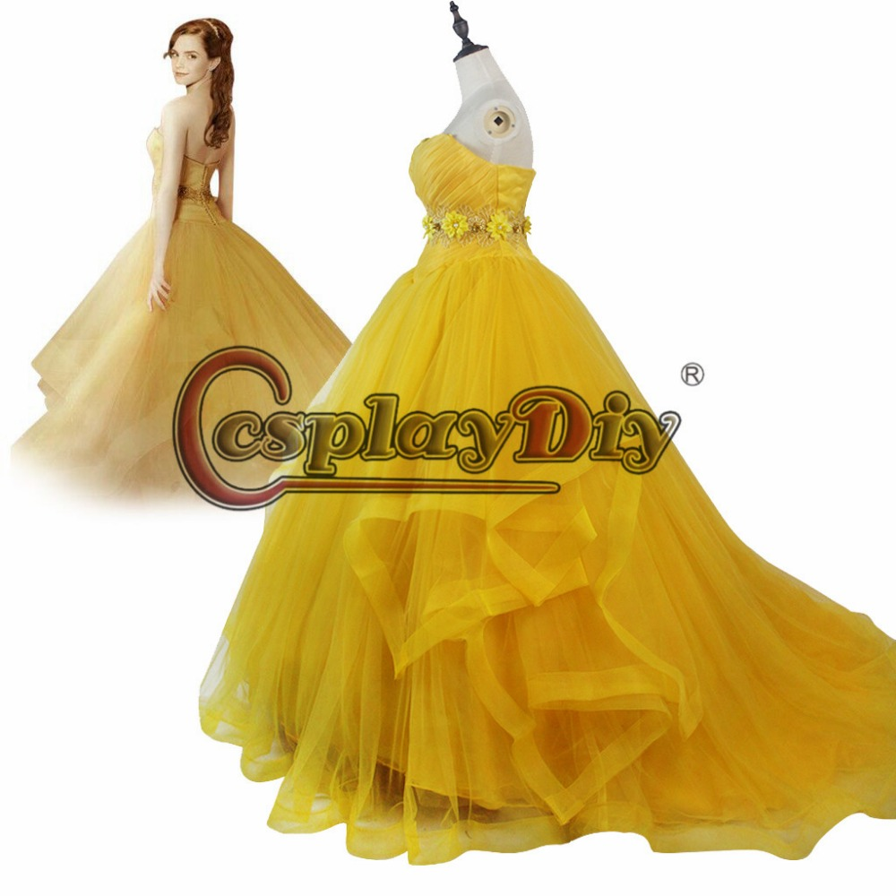 Movie Beauty and the Beast Princess Belle Dress For Adult Women Halloween Carnival Party Cosplay