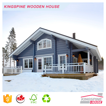 Wooden Log Office Prefabricated wood house with One Storey terrace Good quality made in China for Export KPL-068 EXW USD45000