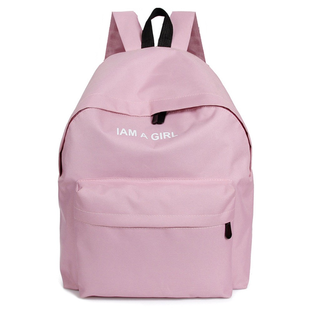 I Am A Girl Letters Embroidery Canvas Backpack for School