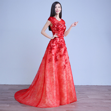 Fashionable floor length red lace appliqued bridal dress wedding gown