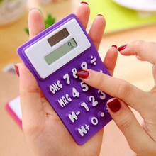 Promotional gift pocket 8 digits portable prehensile cheap school office store use smart silicone mini solar calculator