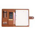 Portable magnet 4 ring binder pu leather file folder with caculator