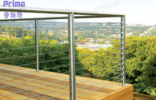 Commercial building carbon steel and satin finish glass garden handrail
