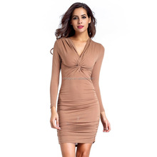 K1750A Factory Price Soft Sexy Bodycon One Step Dress Pictures For Mature Women Sex V-neck Pencil Women Dress