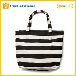Wholesale Hot Selling Classic Black Stripe Canvas Beach Bag With Inner Pocket