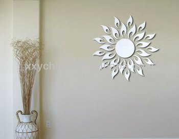 brilliant sun shape wall mirror,mirror sticker home decor