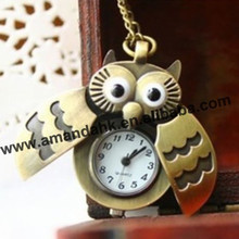 Free shipping 2016 new arrival pocket watch Owl pocket watch open wings fashion style watch