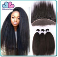 Indian Virgin Afro Kinky Straight Coarse Yaki Human Hair Weave with Closure Italian Light Yaki Hair Bundles with Lace Closures