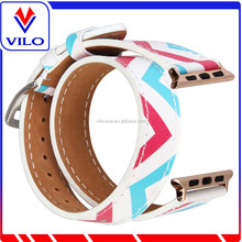 2017 Hotselling Double Strap Printed Genuine Leather Smart Watch Band For Apple Watch Replacement Strap 42/38