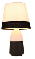 creative touch table lamp, molden metal base with wooden painting, fabric lampshade