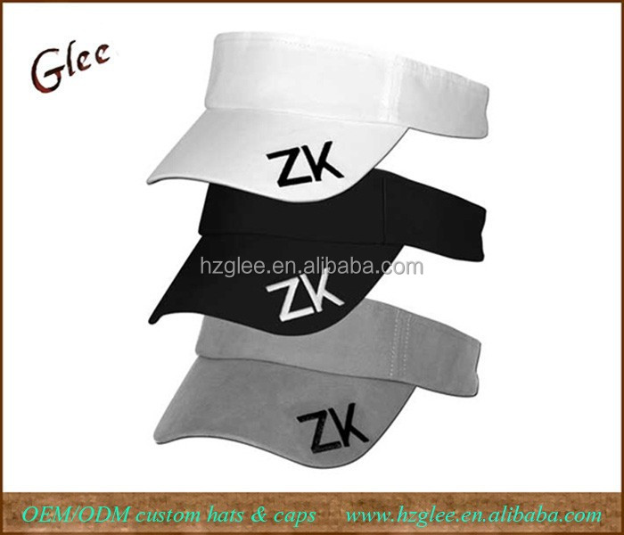 Polyester adult sports visors with logo on bill