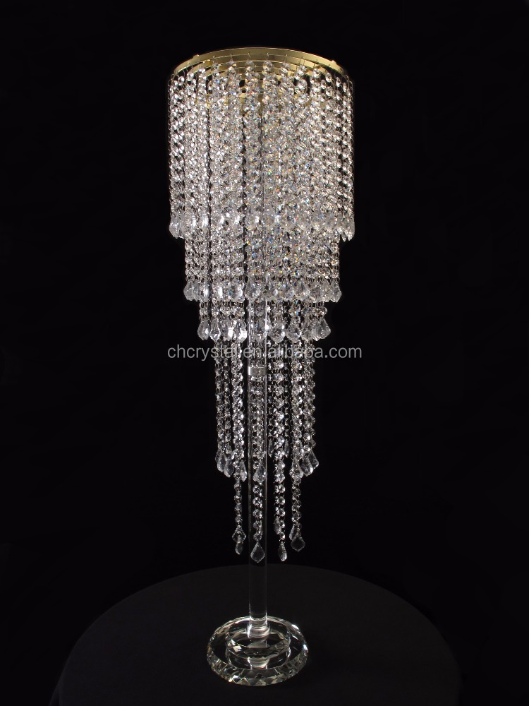 Crystal Flower Stand With Crystal Pendant Wedding Centerpieces MH-TZ0337