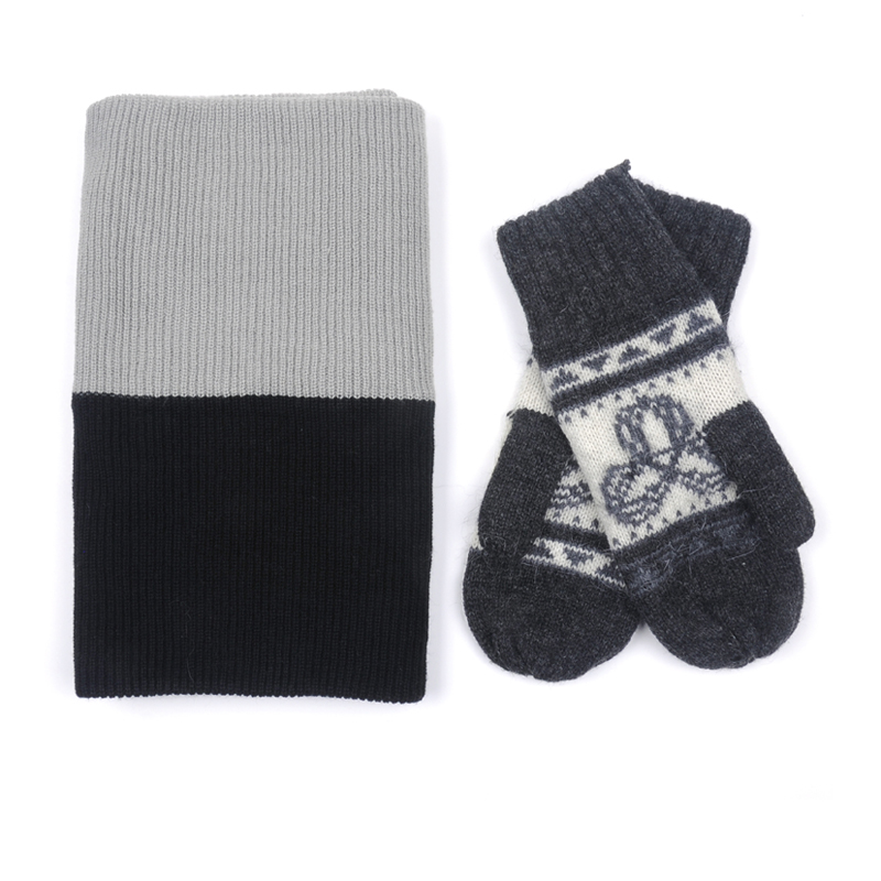 Fashion two colors christmas hat and scarf & gloves sets