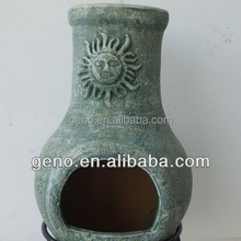 Terracotta Chiminea with antique Sun Face Design for Clay Chiminea Sale