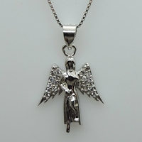 Special design white gold plated 925 silver cross and crown pendant