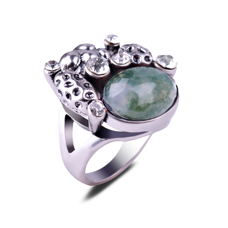 Top Class Pecious Green Plants Agate Gemstone Rings Natural Onyx Ring Crafts For Men