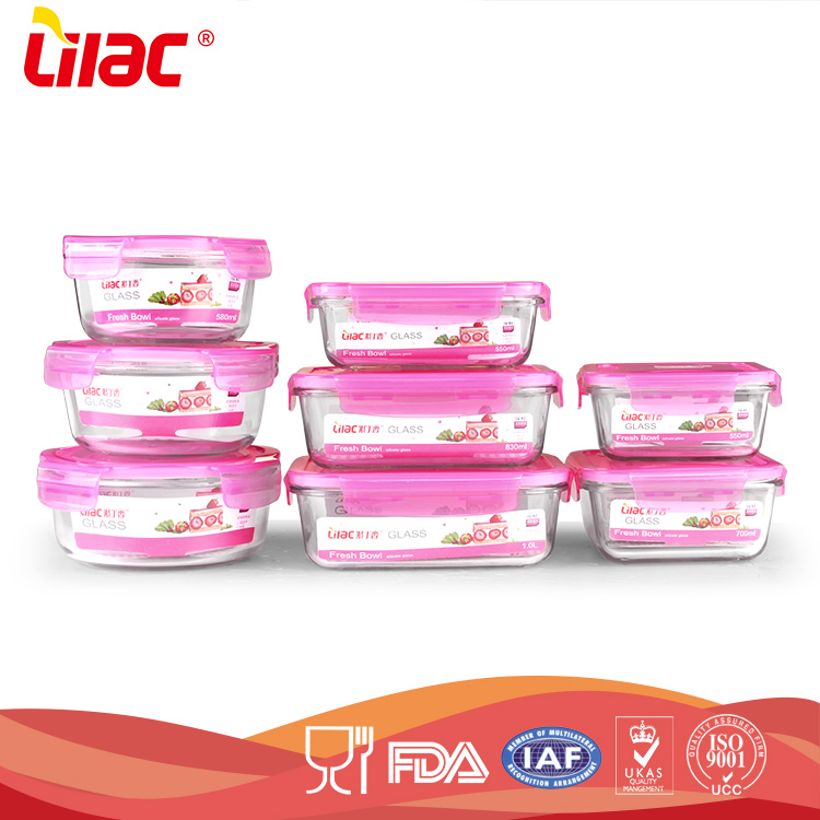 factory OEM&ODM High borosilicate airtight Food storage microwave heat resistant glass bowl set