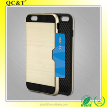 Card Slot Silicone + Wire Drawing PC Case Cell Phone Hybrid Combo Cover for Iphone 6 plus/6S plus
