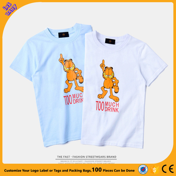 ins Summer new hippie coffee cat printing pure cotton children short sleeve t-shirt