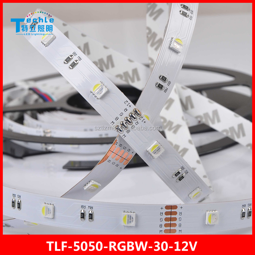 RGBW led strip light 30 led/m 5050 DC12V 24V 14.4W colorful change non waterproof flexible 4 in 1 rope light