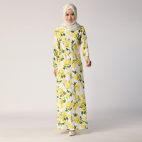 2016 New Fashion Dubai Turkish Clothing Yellow Flower Maxi Dress Kaftan Malaysia Jubah Dress Muslim Women