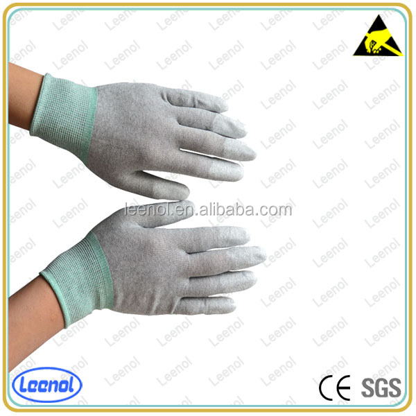 LN-8003F Anti-static PU Fingers Coated Top Fit Carbon Glove